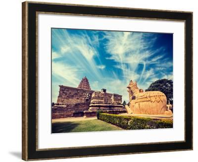 Vintage Retro Hipster Style Travel Image of Hindu Temple Gangai Konda Cholapuram with Giant Statue-f9photos-Framed Photographic Print