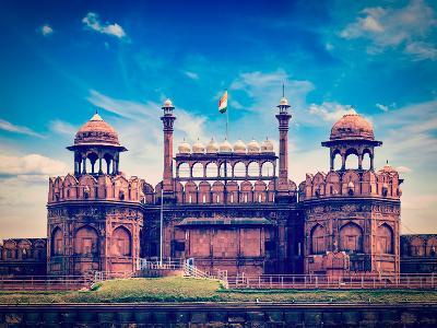 Vintage Retro Hipster Style Travel Image of India Travel Tourism Background - Red Fort (Lal Qila) D-f9photos-Photographic Print