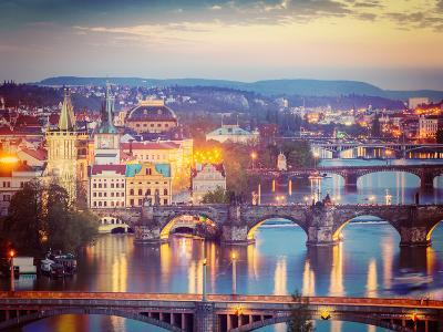 Vintage Retro Hipster Style Travel Image of Travel Prague Concept Background - Elevated View of Bri-f9photos-Photographic Print