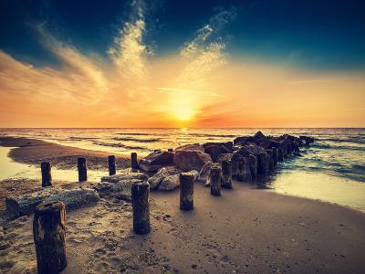 Vintage Retro Photo of Beach at Sunset.-Maciej Bledowski-Photographic Print