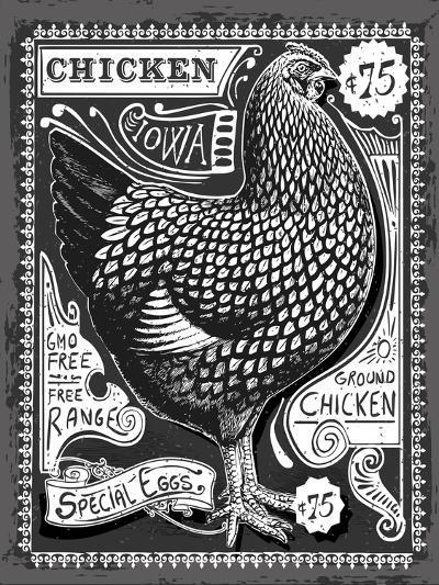 Vintage Rooster Poultry Butcher Blackboard Chicken Beef. Butchery Hen Food Chalk Board Shop. Retro- aurielaki-Art Print