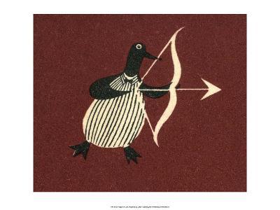 Vintage Russian Matchbox Label, Penguin Bringing Love--Art Print