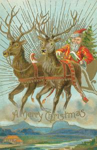 Vintage Santa Claus and Deer