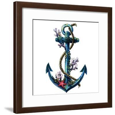 Vintage Sea Anchor with Shell, Coral, Isolated Watercolor Object- nld-Framed Premium Giclee Print