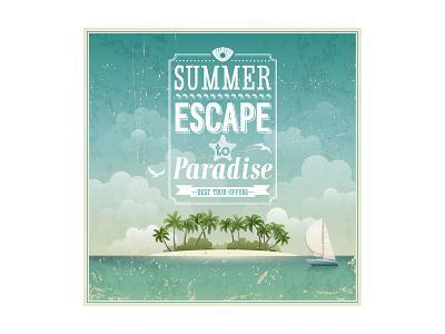 Vintage Seaside View Poster-avean-Art Print