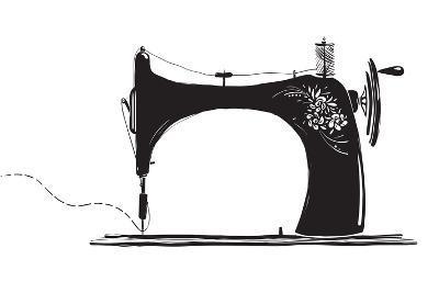 Vintage Sewing Machine Inky Illustration-Popmarleo-Art Print