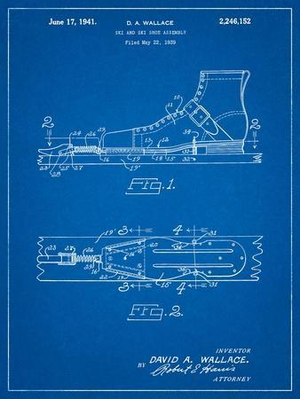 Vintage Ski's Patent-Cole Borders-Art Print