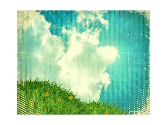 Vintage Sky With Green Grass On Old Paper Texture-GeraKTV-Art Print