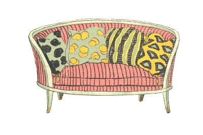 Vintage Sofa with Patterned Pillows--Art Print