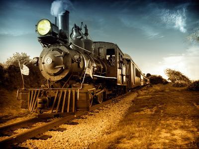 Vintage Steam Engine Train-Zero Minus One-Art Print