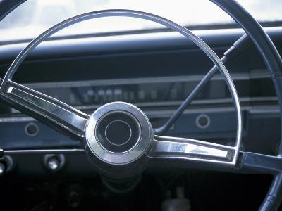 Vintage Steering Wheel in Antique Car--Photographic Print