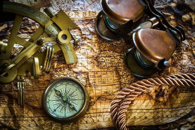 Vintage Still Life With Compass,Sextant And Old Map-scorpp-Art Print