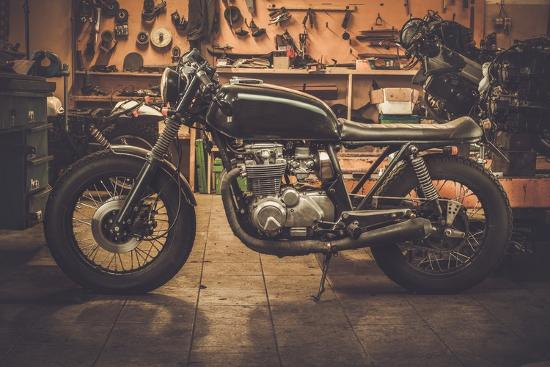 Vintage Style Cafe-Racer Motorcycle in Customs Garage-NejroN Photo-Photographic Print