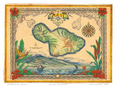 photograph relating to Maui Map Printable named Classic Structure Map of the Island of Maui, Hawaii Artwork Print by way of Steve Strickland