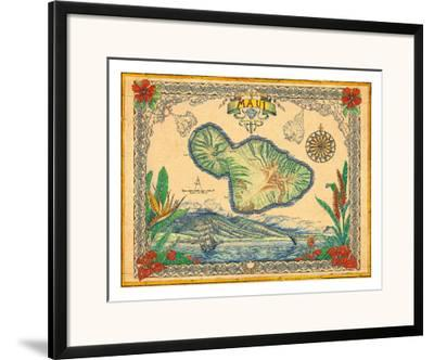 Vintage Style Map of the Island of Maui, Hawaii-Steve Strickland-Framed Giclee Print
