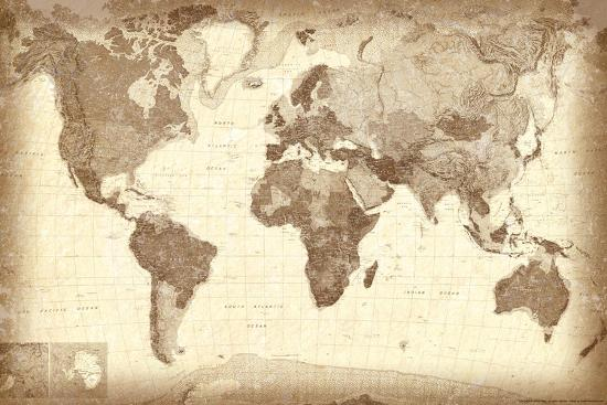 Vintage Style World Map Poster Poster by | Art.com