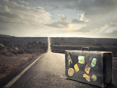 Vintage Suitcase on a Deserted Road-olly2-Photographic Print