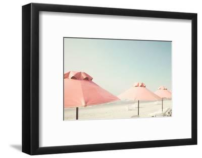 Vintage Summer Beach with Pink Pastel Parasols-Andrekart Photography-Framed Photographic Print