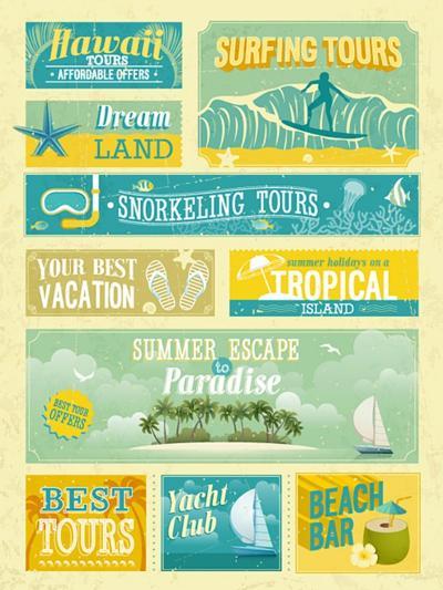 Vintage Summer Holidays And Beach Advertisements-avean-Art Print
