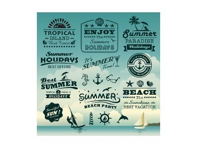 Vintage Summer Typography Design With Labels, Icons Elements Collection-Catherinecml-Art Print