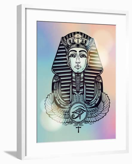 Vintage Tattoo Vector Pharaoh with Winged Ankh.-Katja Gerasimova-Framed Art Print