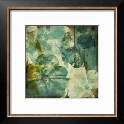 Vintage Teal Blooms Ii Art Print Ricki Mountain Art Com