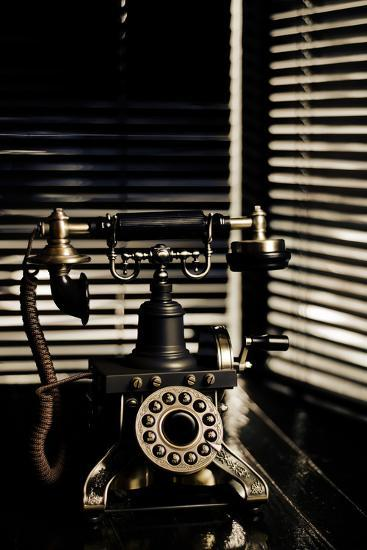 Vintage Telephone - Film Noir Scene With Retro Phone And Blinds-passigatti-Art Print