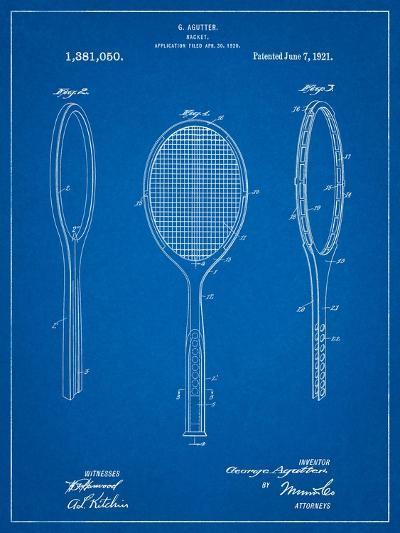 Vintage Tennis Racket Patent-Cole Borders-Art Print