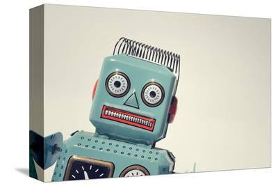 Vintage Tin Toy Robot II--Stretched Canvas Print