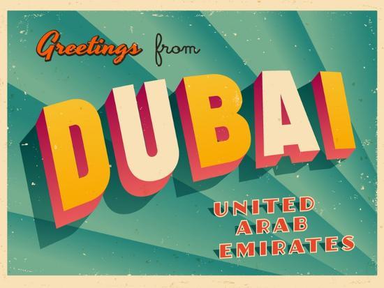 Vintage Touristic Greeting Card - Dubai, United Arab Emirates-Real Callahan-Art Print