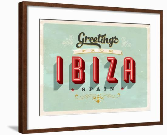 Vintage Touristic Greeting Card - Ibiza, Spain-Real Callahan-Framed Art Print
