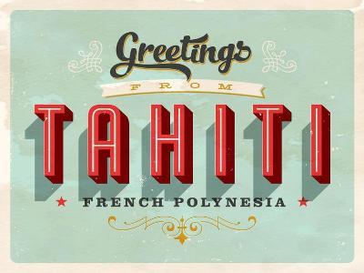 Vintage Touristic Greeting Card - Tahiti, French Polynesia-Real Callahan-Art Print