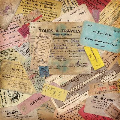 Vintage Travel Background Made Of Lots Of Old Tickets-shootandwin-Art Print