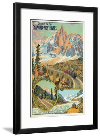 Vintage Travel Poster for Chamonix, France--Framed Art Print
