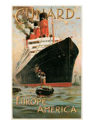 Vintage Travel Poster for Cunard Line--Art Print