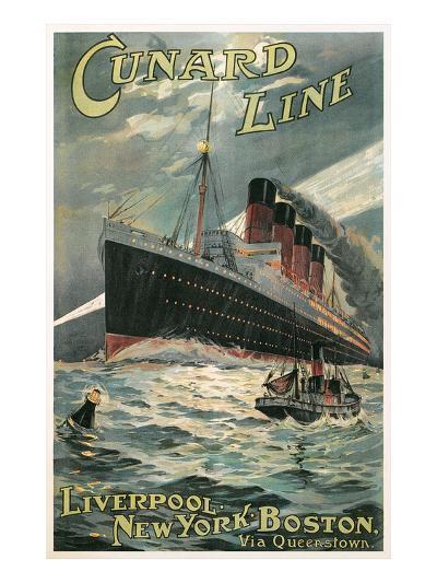 Vintage Travel Poster for Cunard Lines--Art Print