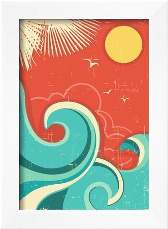 Vintage Tropical Background With Sea Waves And Sun-GeraKTV-Framed Art Print