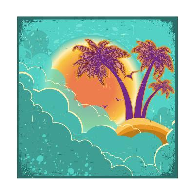Vintage Tropical Island Background With Sun And Dark Clouds On Old Paper Poster-GeraKTV-Art Print
