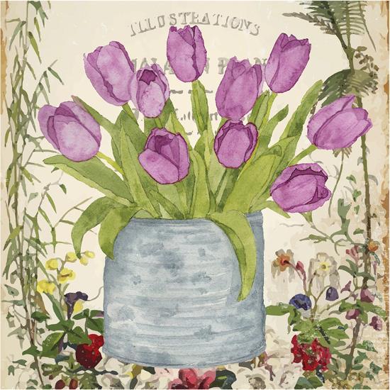 Vintage Tulip Can II-Leslie Mark-Art Print