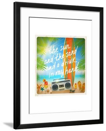 Vintage Vector Illustration - Old Surfboard with Summer Hand Drawn Saying and Retro Cassette Record-vso-Framed Art Print