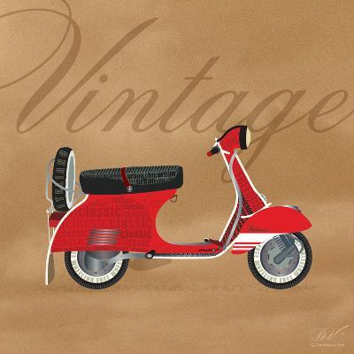 Vintage Vespa Red-Dominique Vari-Art Print