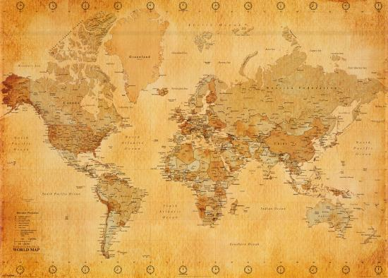 Vintage World Map--Giant Poster