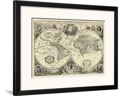 Black And White World Map Framed.Vintage World Map Framed Art Print By Art Com