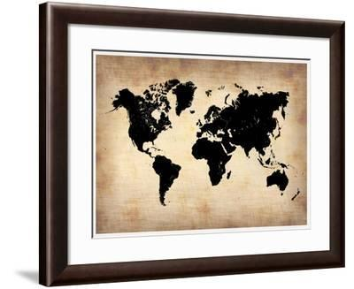 Vintage World Map-NaxArt-Framed Art Print