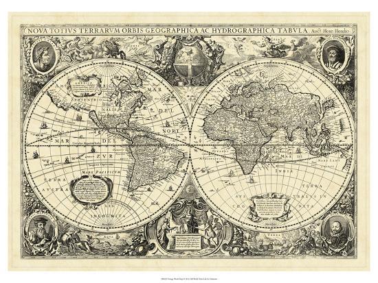 Vintage World Map--Art Print