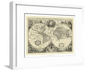 Vintage World Map-null-Framed Art Print