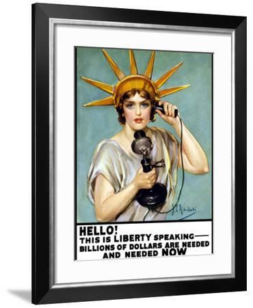 Vintage World War I Poster of the Statue of Liberty Talking On the Telephone-Stocktrek Images-Framed Photographic Print