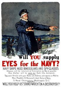 Vintage World War I Propaganda Poster Featuring a Blindfolded Ship Captain