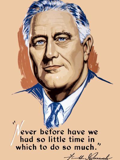 Vintage World War II Artwork of President Franklin Delano Roosevelt-Stocktrek Images-Photographic Print
