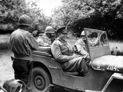 Vintage World War II Photo of General Dwight D. Eisenhower Sitting in a Jeep-Stocktrek Images-Photographic Print